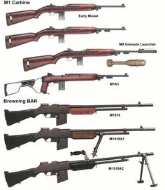 M1 Carbine, M1A1, Browning BAR M 1918, M 1918 A1, M 1918 A2 guns