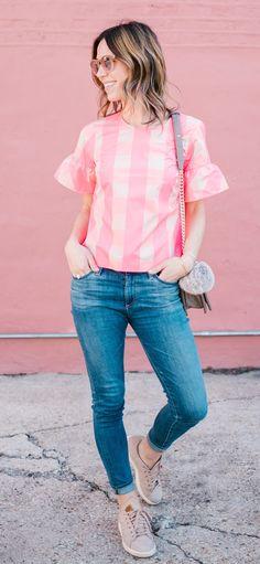 Pink Pattern Tee & Skinny Jeans