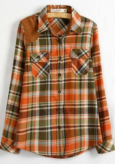 Orange Plaid Buttons Lapel Wrap Cotton Blend Blouse