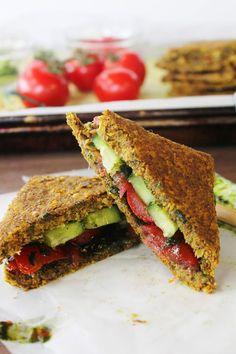 Rawsome Vegan TOMATO CUCUMBER SANDWICH on ONION & CORN BREAD with OLIVE & KALE TAPENADE  #vegan #Raw