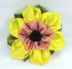 Sunflower Ribbon Millinery Corsage