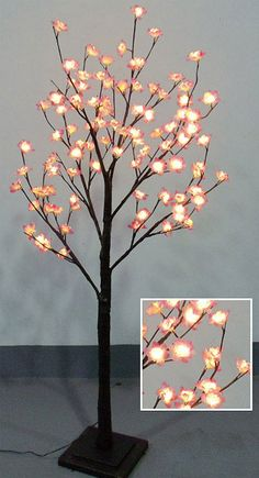 4 Foot Tree With Pink Cherry Blosoms 96 Warm White Led S