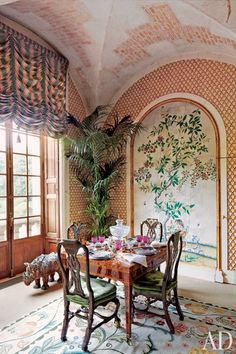Celebrity Dining Rooms: Valentino has created a truffle among no name chocolates.  I love everything in this room and would only add hanging fixture.  Architectural Digest