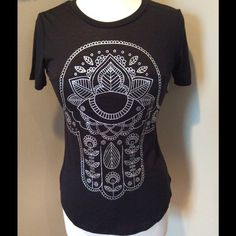 Hamsa Shirt Soft black Hamsa tee-shirt, size juniors small, made from 65% polyester, 35% rayon. Has a seam across bust line. Awake Tops Tees - Short Sleeve