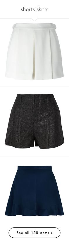 """shorts skirts"" by evenaka on Polyvore featuring shorts, skirts, bottoms, alexander wang, white shorts, pleated shorts, alexander wang shorts, short, pants and black"