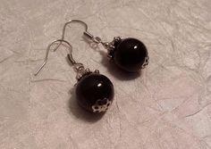 Black Onyx Drop Pierced Earrings Elegant Handcrafted Artisan Healing Jewelry  #Dangle
