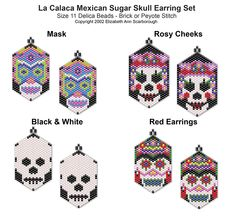 La Calaca Mexican Sugar Skull Earring Set 1 | Bead-Patterns.com
