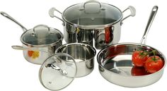 Excelsteel 7 Piece Triply 18/10 Stainless Steel Cookware Set * Read more at the image link.