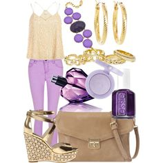 A fashion look from February 2014 featuring racerback camisole, purple skinny jeans and floral sandals. Browse and shop related looks.
