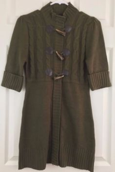 Takeout Sweater Dress Army Green Zippered Animal Tooth Toggles Junior 3 Knee #Takeout #SweaterDress #CasualCareerSchool