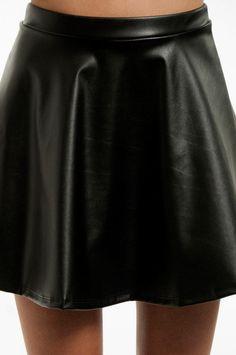 Vegan Leather Skater Skirt