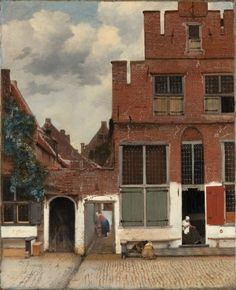 Vermeer, The Little Street. Rijksmuseum.  Woman marks the boundary of the house.