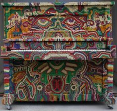 paulagold: Mardi Gras Bead Piano by John Lawson Painted Pianos, Piano Art, New Orleans Mardi Gras, Mardi Gras Beads, World Crafts, Art Case, Yarn Bombing, Hand Painted Furniture, Wooden Furniture