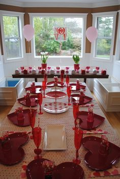 "Photo 1 of Valentine's Day ""Valentine's Sweet Soiree"" Valentines Day Treats, Valentine Day Crafts, Valentine Party, Valentine Ideas, Valentines Day Tablescapes, Valentines Day Decorations, My Sweet Valentine, Happy Valentines Day, Grown Up Parties"