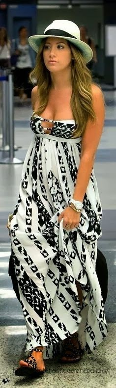 Hot off shoulder maxi dress and hat