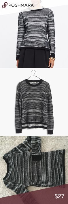 Madewell Fineprint Pullover Sweater Size M True to size black and white patterned sweater. Excellent used condition. Madewell Sweaters Crew & Scoop Necks