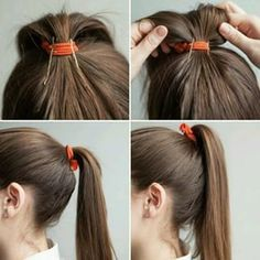 Dê uma força para seu rabo de cavalo chegar nas alturas colocando grampos assim: | 22 penteados simples para quando você não sabe o que fazer com seu cabelo