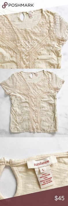 Sundance Lace Short Sleeve Tee Beautiful Lace overlay tee from Sundance. Off-white/cream color. Size large. No flaws to note. Sundance Tops Tees - Short Sleeve