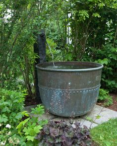 Ripple Effect - A chocolate vat turned fountain, positioned in the landscape just south of the main house. Outdoor Water Features, Water Features In The Garden, Garden Features, Water Fountain Design, Home Fountain, Container Water Gardens, Backyard Water Feature, Garden Fountains, Outdoor Fountains