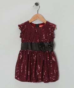 Burgundy & Black Sequin Bubble Dress - Toddler & Girls Funkyberry S/O