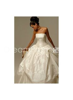 Taffeta Straight Strapless Neckline with Asymmetrical Pick up Ball Gown Hot Sell Wedding Dress WD-0030