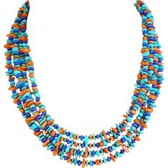 Turquoise, Lapis, Spiny Oyster, Gaspeite Multi-strand Necklace Playful and light-hearted, southwestern necklaces encompass the carefree casual character of the contemporary woman. This necklace with natural gemstone beads combine in a fun and fresh southwestern style.