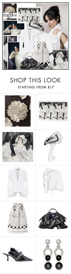 """What a Frill: Ruffles and Camila"" by katik27 ❤ liked on Polyvore featuring Global Views, Philip Treacy, Alexander McQueen, Delpozo, Comme des Garçons, Borbonese, Cesare Paciotti and Nathalie Jean"