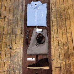 Men's Look No. 5: The Initiate  Shirt: @vineyardvines  Pants: @agjeans  Belt: #BisonDesigns  Shoes: @clarksshoes  Watch: @timex  Accessories: @detroitgrooming