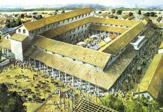 Reconstruction of the basilica and forum of Silchester.