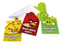 Zaproszenia na urodzinowe przyjęcie z Angry Birds.