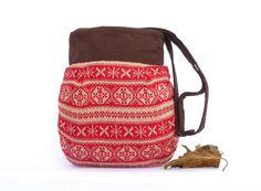Red Geometric Tote Messenger Bag Bohemian Christmas Bag. $45.00, via Etsy.