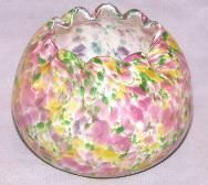 Art Glass Multicolored Flower  Rose Bowl