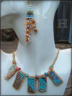 Beaded Crochet Necklace & Earrings