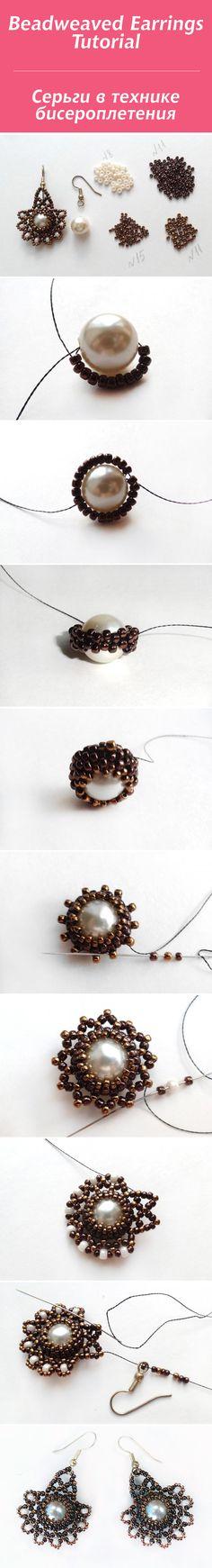 Создаем серьги в технике бисероплетения / Beadweaved Earrings Tutorial