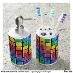 White Outlined Rainbow Squares Bathroom Set