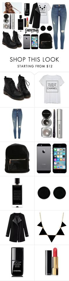 """""""Coco to my Chanel"""" by anajeps ❤ liked on Polyvore featuring Chanel, River Island, Bobbi Brown Cosmetics, Agonist, AeraVida, black and iphone"""