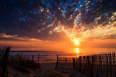 Sunset in Lacanau Ocean, France