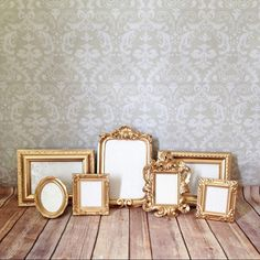 Vintage Style, Shabby Chic, Event Picture FRAMES Perfect Grouping of ornate picture frames in a warm gold or your choice of color; leave note to Picture Frame Table, Small Picture Frames, Ornate Picture Frames, Wedding Picture Frames, Wedding Frames, Wedding Photos, Wedding Ideas, Wedding Inspiration, Wedding Decorations