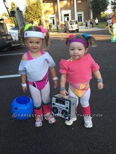 Cutest 80s Workout Girls Couple Costume for Toddlers - 3