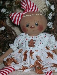 PriMitive Folkart Raggedy Ann ~ Gingerbread Girl ~ Gingerbread Cookies - Red #NaivePrimitive