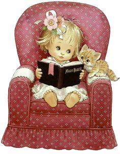 Girl reading with a kitten Illustration by Ruth Morehead Adorable Petite Fille, Cute Clipart, Holly Hobbie, Girl Reading, Reading Time, Cute Pictures, Cute Images, Cute Illustration, Vintage Children