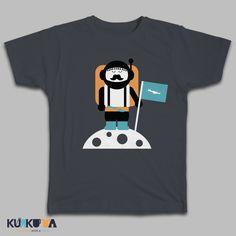 First Cretan man step on the moon! Mouse Grey Tshirt exclusively at kurkuta.com