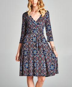 Love, Kuza Navy Abstract Venechia Wrap Dress | zulily