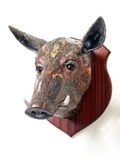 Papier mache Pigs, Sows, Boars, Hogs, Piglets #sculpture by #sculptor David Farrer titled: 'Wild Boar (Indoor Wall Mounted Trophy Head Amusing Sculpture)' #art