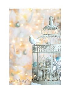 Cute Christmas birdcage decoration #ClippedOnIssuu from Simply Shabbilicious Christmas Magazine - Issue 4, 2014