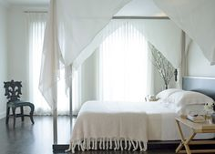 White bedroom, soft white textures from sheer bed curtains and drapes, Hermes mohair throw, dark wood floors. Creating an oasis at home with simple furniture and embellishments. Design Art Nouveau, Bed Curtains, Canopy Beds, Pvc Canopy, Window Canopy, Beach Canopy, Backyard Canopy, Canopy Bedroom, Garden Canopy