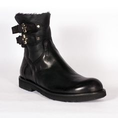 Cesare Paciotti Mens Shoes Black Leather Boots Price Now: $424.37 You Save 47% by Dellamoda Inc