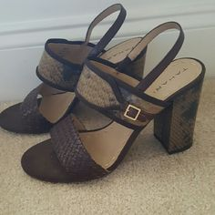 """Tahari Leather  Chunky Heel Sandal This sandal has a brown woven wide front strap along with a reptile print second wide strap with buckle accent.  It sports an on trend  chunky 4"""" heel.  Super stylish! Tahari  Shoes Sandals"""