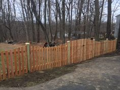 Another custom design requested by a customer for Tri-Boro Fence to install...red cedar pickets with a combination of concave fence tops and convex double gate top