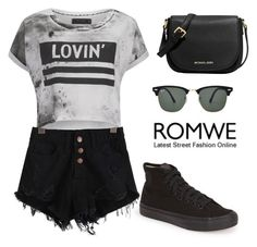 """ROMWE denim black shorts"" by tania-alves ❤ liked on Polyvore featuring Religion Clothing, Vans, MICHAEL Michael Kors and Ray-Ban"